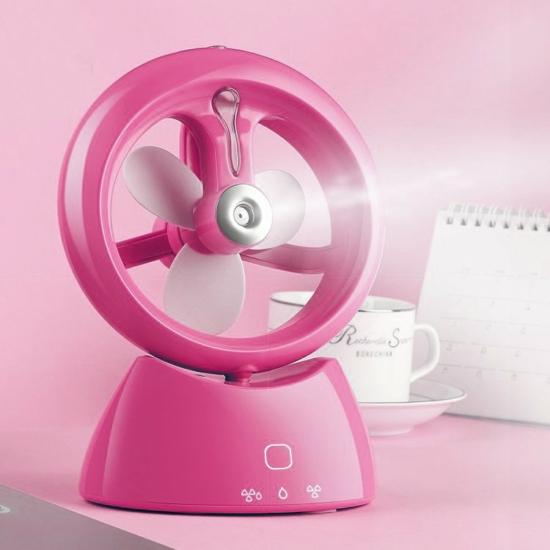 USB-s párásító ventilátor Rózsaszín